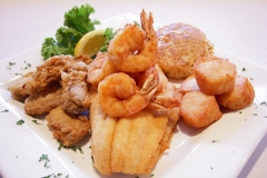 FRIED SEAFOOD COMBINATION - Shrimp, Scallops, Oysters, Flounder and Homemade Crabcake- breaded with extra fine crackermeal and fried to a golden brown